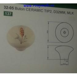 BUTON PORTELAN SPIC TIP 2 D32MM MLK