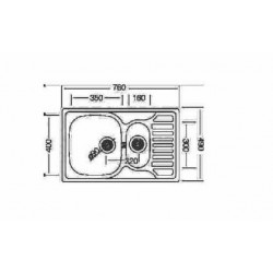 CHIUVETA LIV INOX EC-174K NATUR 780X490X160/100MM
