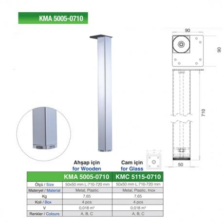 PICIOR MASA PATRAT KMA 5005 50X50 H710 MM CROM LUCIOS