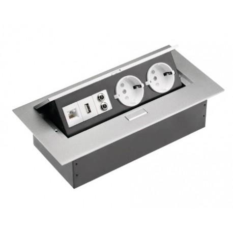PRIZA GTV INCASTRABILA BLAT 2XSCHUKO USB MINIJACK INTERNET
