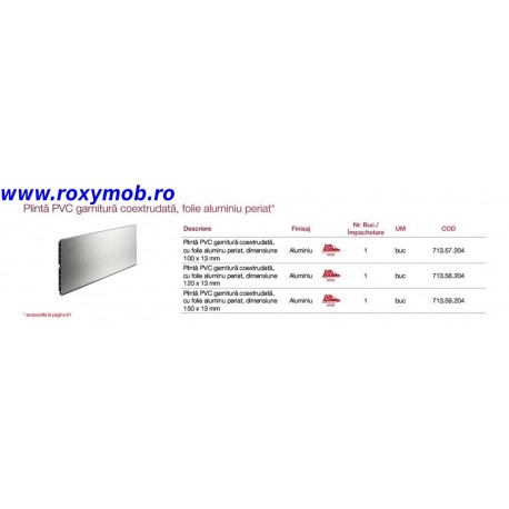 PLINTA H150 MM PLASTIC FOLIE ALU PERIAT 502 4M, 713.59.204