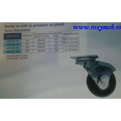 ROTILA CU BILA 40 mm diametru + frana + flansa 40x40