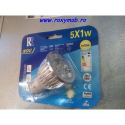 BEC LED GU10 5X1W, 3000K ALB CALD, 78X72MM 220V