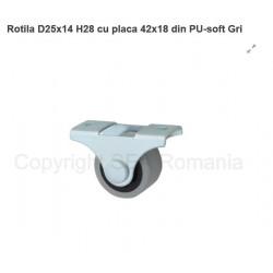 ROTILA SOFT D25X14 H28 PLACA 42X18 DIN PU GRI 439.16.18
