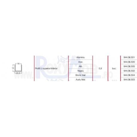 SISTEM ADOOR PROFIL U 20.5X15MM 5.8ML ALU 944.06.501